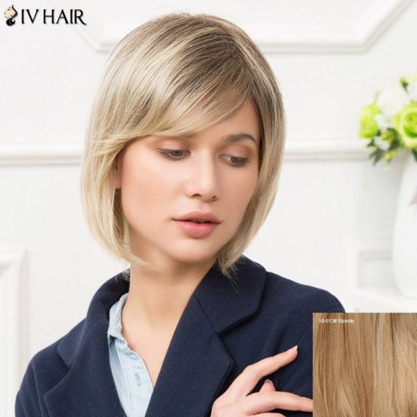 Siv Short Inclined Bang Straight Bobs Human Hair Wig
