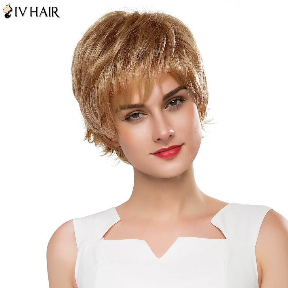 Vogue Short Real Human Hair Fluffy Straight Layered Siv Hair Capless Wig For Women
