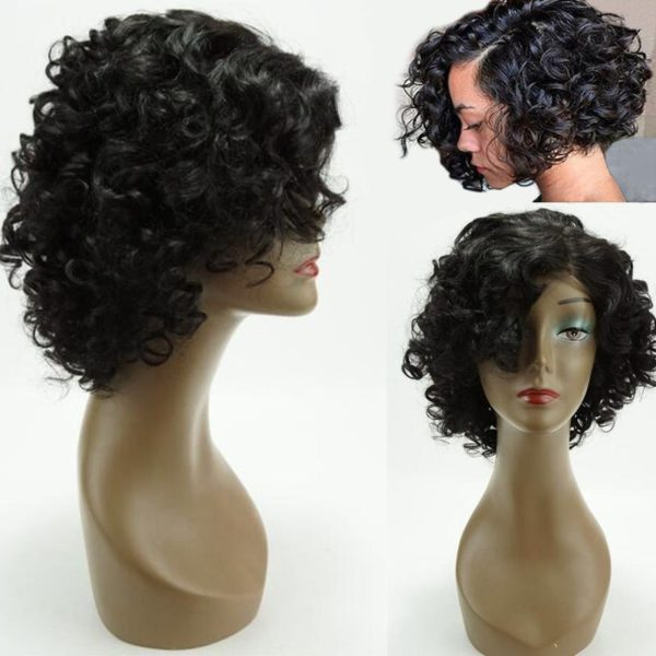 Perm Dyed Short Side Bang Funmi Curly Lace Front Human Hair Wig