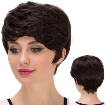 Short Oblique Bang Layered Straight Synthetic Wig