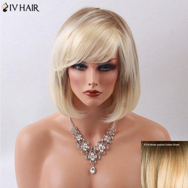 Siv Hair Medium Straight Side Bang Ombre Bob Human Hair Wig