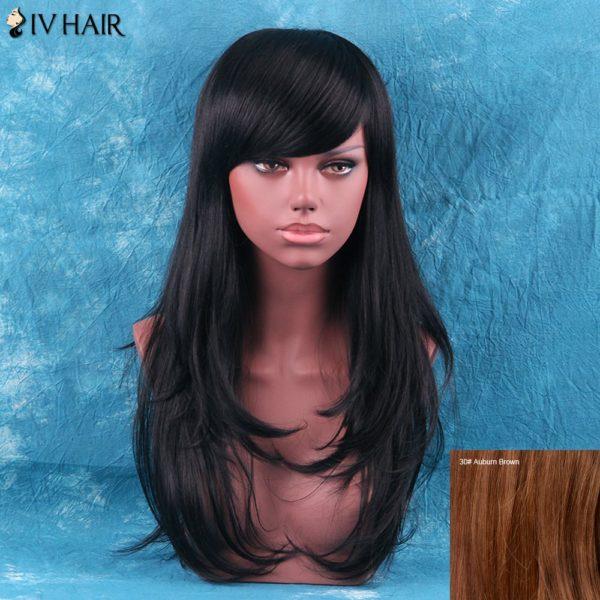 Siv Hair Fluffy Layered Tail Adduction Long Side Bang Human Hair Wig