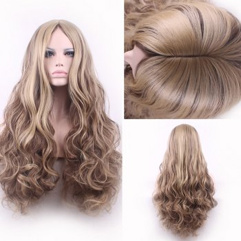 Bouffant Curly Long Synthetic Trendy Light Blonde Mixed Brown Middle Part Women's Cosplay Wig