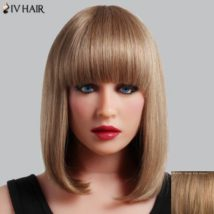 Refreshing Straight Capless Human Hair Full Bang Medium Siv Hair Wig For Women