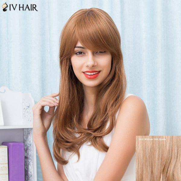 Siv Hair Slightly Curled Long Oblique Bang Human Hair Wig