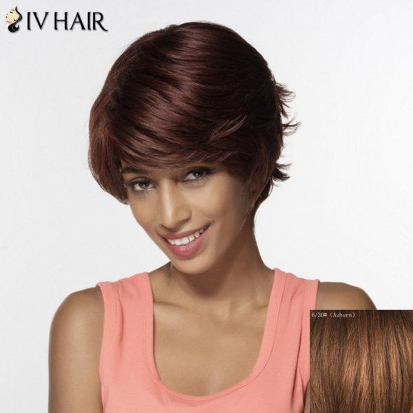 Siv Short Shaggy Side Bang Tail Upwards Layered Human Hair Wig