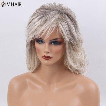 Siv Hair Medium Shaggy Side Bang Natural Straight Colormix Human Hair Wig