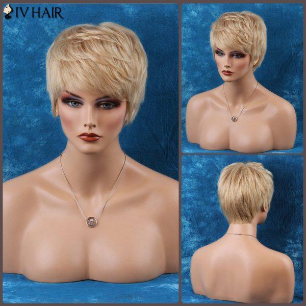 Siv Layered Straight Short Inclined Bang Human Hair Wig