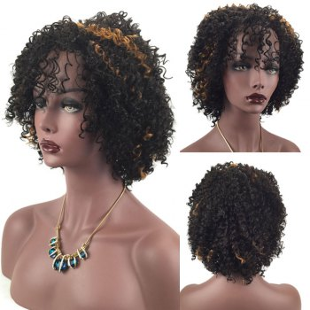 Adiors Inclined Bang Shaggy Short Afro Curly Highlight Synthetic Wig