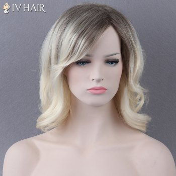 Medium Side Bang Slightly Curled Mixed Color Siv Human Hair Wig