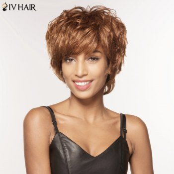 Fascinating Short Fluffy Neat Bang Curly Siv Hair Human Hair Wig