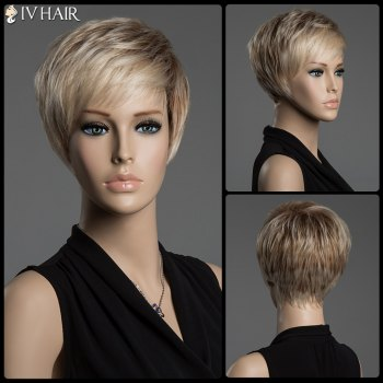 Straight Mixed Color Capless Siv Hair Short Pixie Cut Human Hair Wig