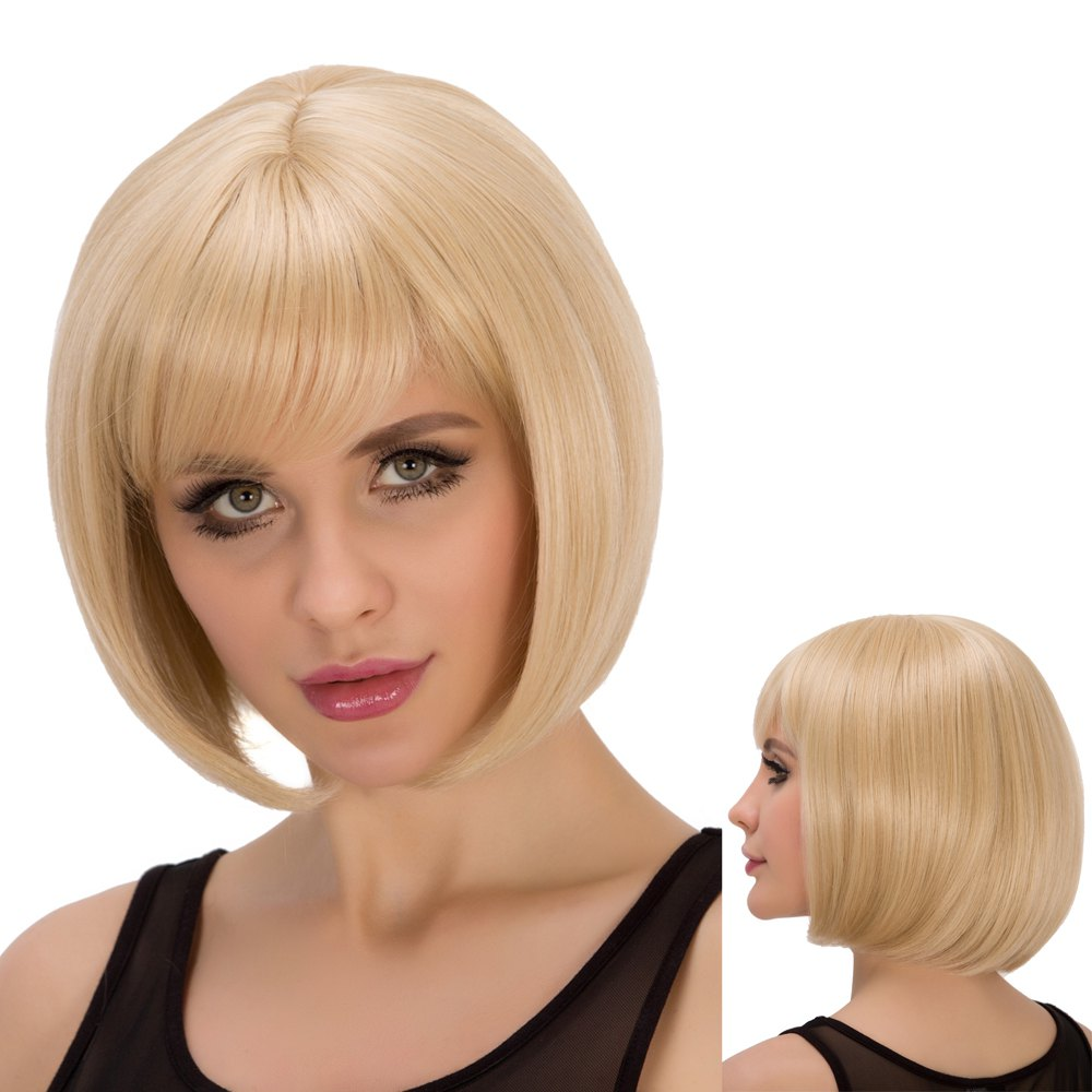 Straight Short Full Bang Light Blonde Spiffy Synthetic Wig For Women