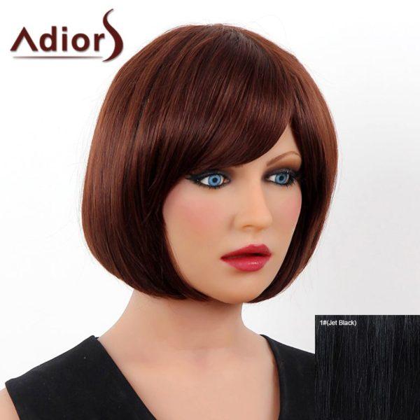 Elegant Short Side Bang Real Human Hair Bob Style Straight Capless Adiors Wig For Women
