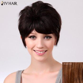 Siv Straight Fluffy Short Inclined Bang Human Hair Wig