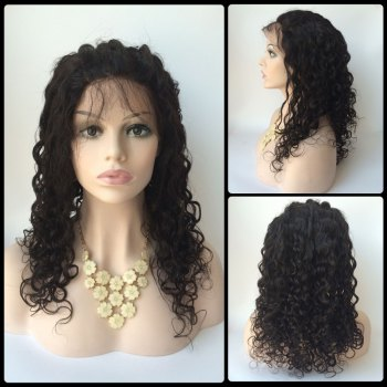 Long Water Wave Side Bang Lace Front Real Natural Hair Wig