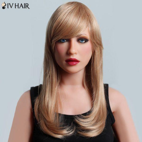 Attractive Long Side Bang Siv Hair Natural Straight Capless Women's Human Hair Wig
