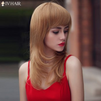Layered Long Oblique Bang Fluffy Slightly Curled Siv Human Hair Wig