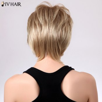 Shaggy Short Layered Side Bang Straight Siv Human Hair Wig