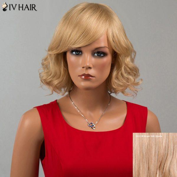 Siv Hair Short Wavy Oblique Bang Human Hair Wig