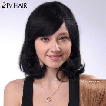 Shaggy Short Wave Human Hair Side Bang Capless Siv Hair Wig