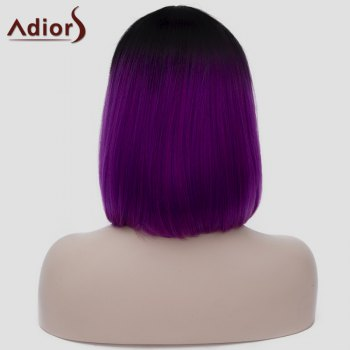 Harajuku Straight Capless Black Gradient Purple Synthetic Attractive Short Women's Cosplay Wig