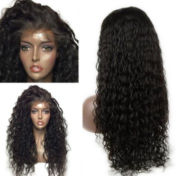 Dyed Perm Long Deep Side Parting Curly Lace Front Human Hair Wig