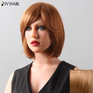 Stylish Natural Straight Bob Style Siv Hair Human Hair Women's Wig