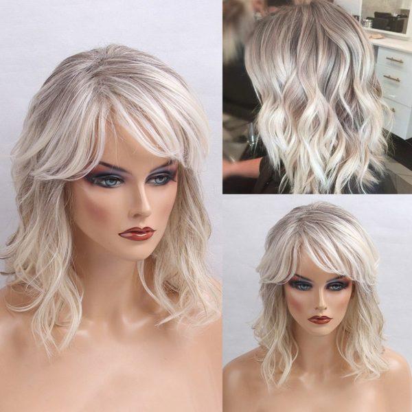 Medium Oblique Bang Colormix Shaggy Natural Wavy Human Hair Wig